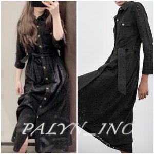❤️❤️ZARA OPENWORK EMBROIDERY SHIRT DRESS WITH BELT